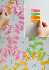 Colored Tabs for Wedding Seating Arrangements
